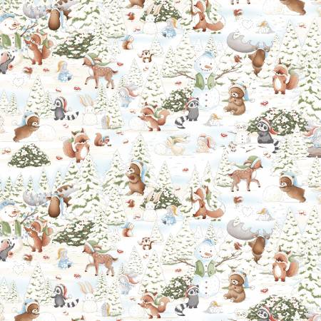Timeless Treassures Snow Day C7549-Multi Snow Day Forest Friends