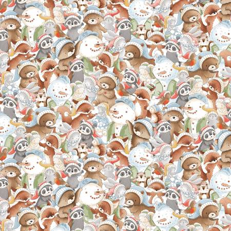 Timeless Treassures Snow Day C7550-Multi Packed Forest Animals