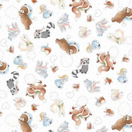 Timeless Treasures Snow Day C7551-Multi Forest Animals Allover
