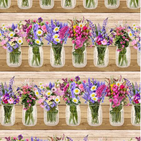 Timeless Treasures Fleur Multi Spring Beauty Border Stripe