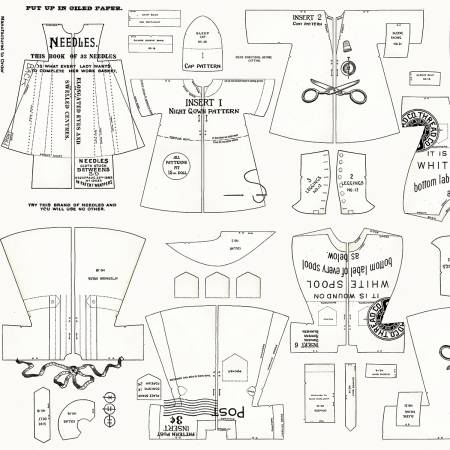 Riley Blake Paperdoll Clothes Off White