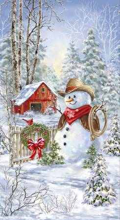 Saddle Up Country Snowman Panel