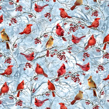 Blue Cardinals & Berries on Snow Branches, Timeless Treasues