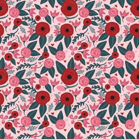 Hello Sweetheart Floral Pink 1/2 yd