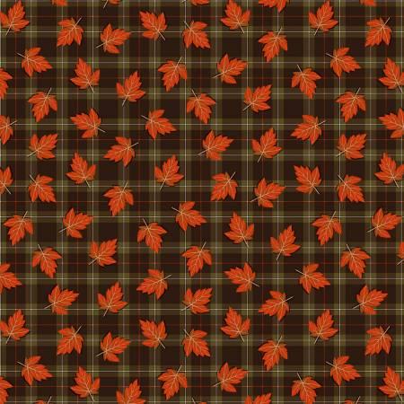 Multi Autumn Leaves on Plaid TT043020