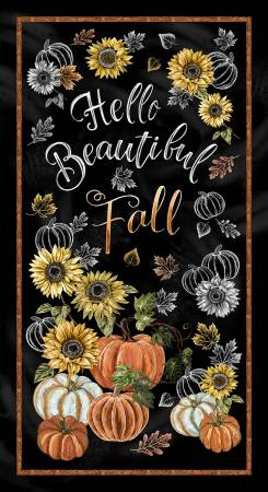 Black Hello Beautiful Fall - Panel 24in