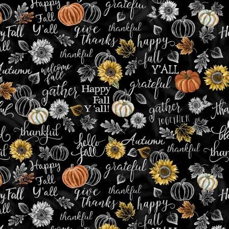Happy Fall Y'All Chalk Words Print
