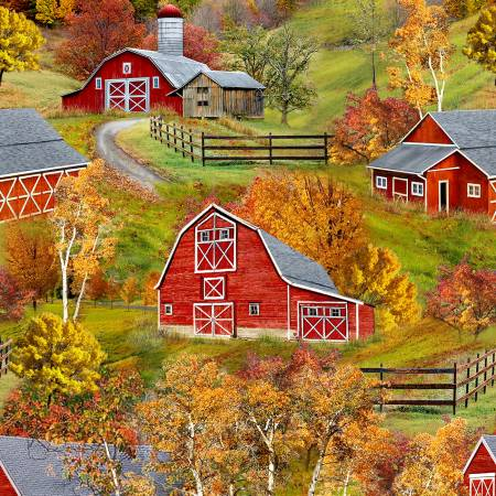 Multi Autumn Barn repeating Panel every 24 inches sold by the yard