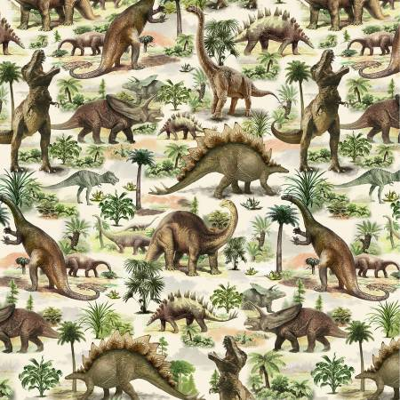 SPECIALTY FABRICS:  Dinosaurs on Cream:  Dino Trek by Timeless Treasures