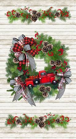 Christmas Wreath & Red Truck Panel