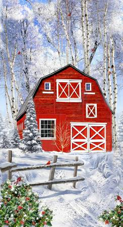 Timeless Treasures Multi Red Winter Barn Panel 24in