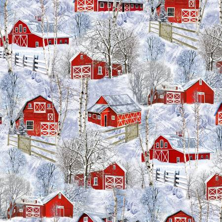 TT-Nature-C7869 Multi Red Barns in Snow