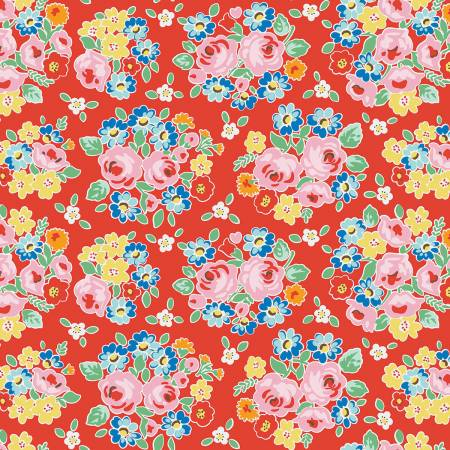 C7940-RED - F-CB-PNR-BBR-07 Penny Rose - Bluebirds on Roses-01-Red w/ Pink & Yellow flowers
