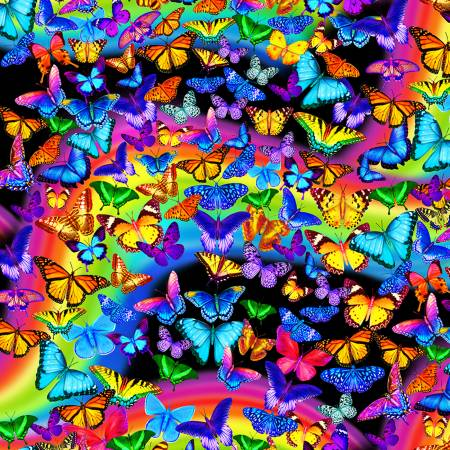 Timeless Treasures MICHAEL C7945 Multi Rainbow Butterfly
