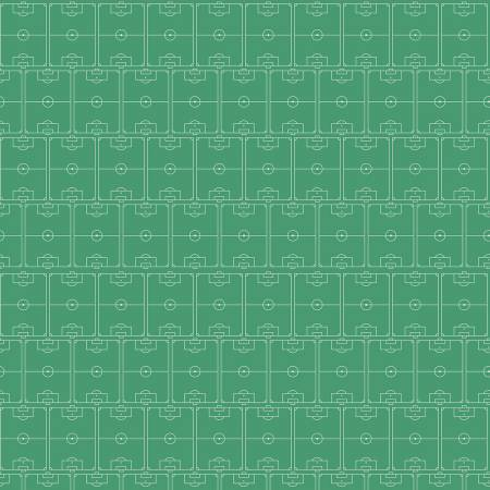 White Outlined Soccer Fields on Green:  Varsity by Deena Rutter for Riley Blake Fabrics