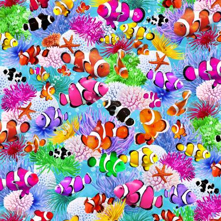 Timeless Treasures - Multi Tropical Fish