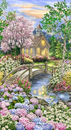 Timeless Treasures: Peaceful Garden Digital Panel 24 Blooming Forest Chapel Church