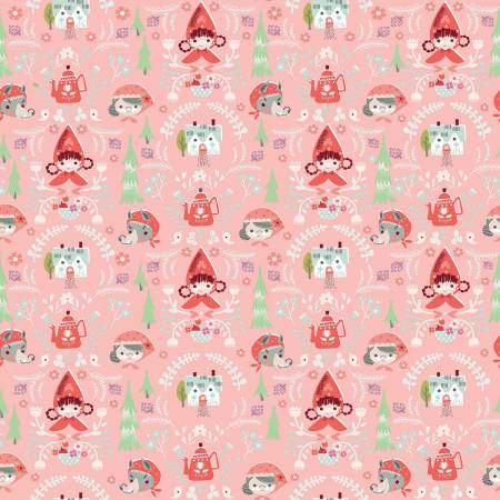 Little Red In The Woods - Damask - Pink