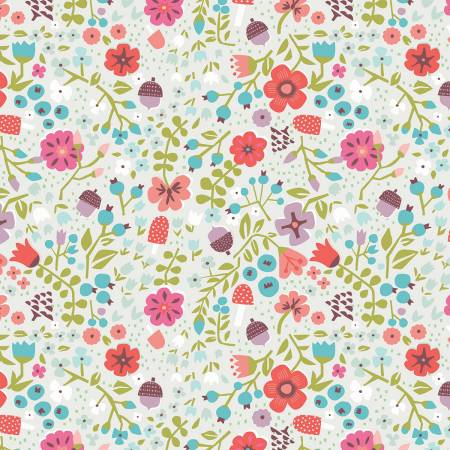 Little Red In The Woods - Floral - Cream