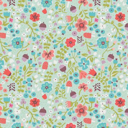 Little Red In The Woods - Floral - Mint