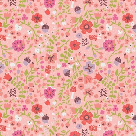 Little Red In The Woods - Floral - Pink