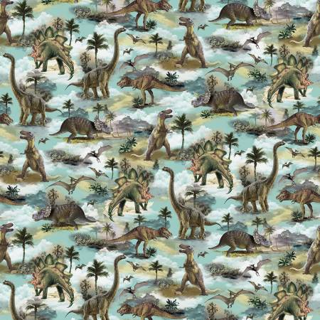 SPECIALTY FABRICS: Realistic Dinosaurs Allover by Timeless Treasures