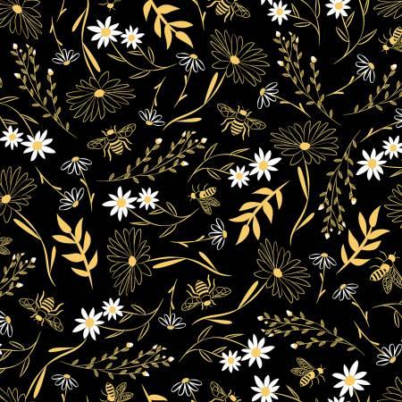 Black Floral Bees c8125