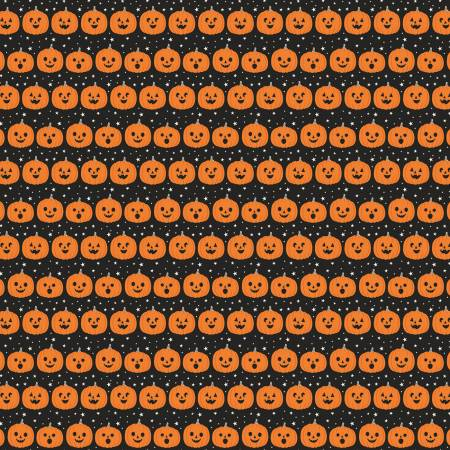 Riley Blake Fab-Boo-Lous Pumpkin on Black by Dan Mogstad