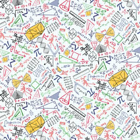 Timeless Treasures - White Math Equations