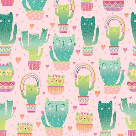 FUN-C8237 Pink Quirky Cat Cacti Kitty Cactus Timeless Treasures
