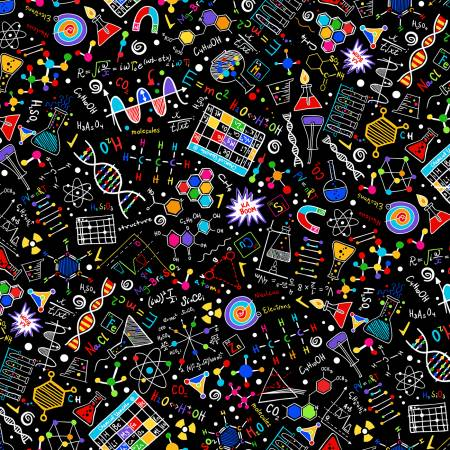 GAIL-C8249 Black Bright Science Doodles Timeless Treasures
