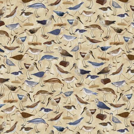 SPECIALTY FABRICS:  Sandpipers on Natural:  Welcome to the Beach - Bird by Timeless Treasures