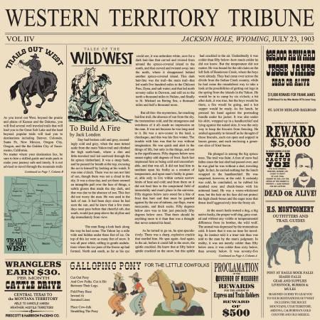 Cowboy Country Newsprint Cream C8303R-CREAM