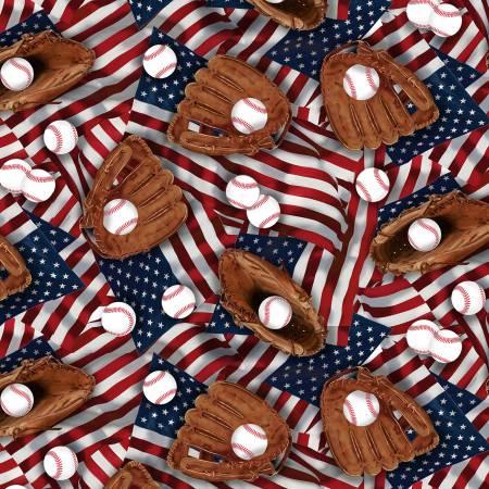 GAIL-Multi- Baseball Mits on American Flags