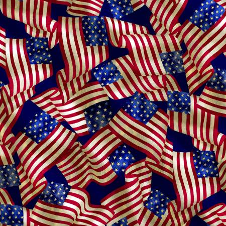 Timeless Treasures USA C83221 Multi Packed USA Flags Patriotic