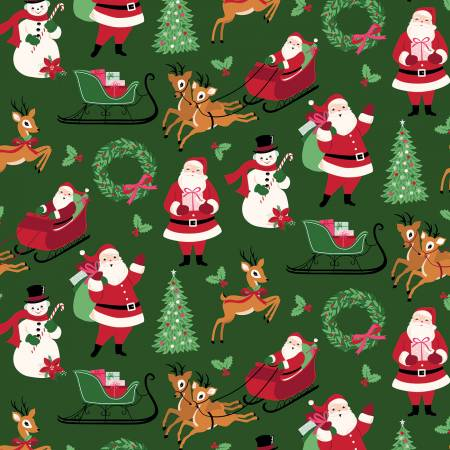 Riley Blake Merry And Bright all Christmas on Green
