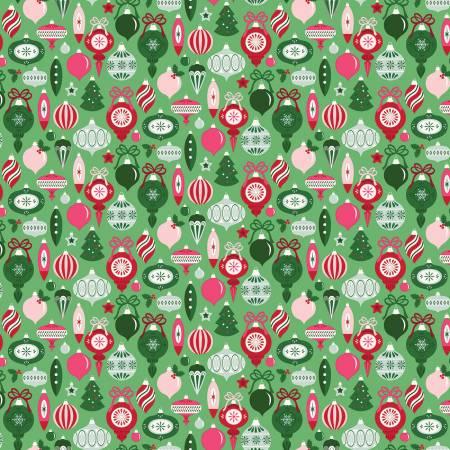 Merry And Bright Ornaments Ltgreen C8395