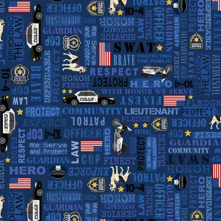 Timeless Treasures POLICE C8407 Blue Everyday Heroes Police Fabric
