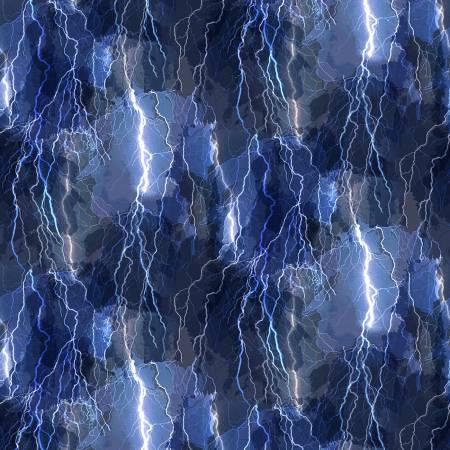 SPECIALTY FABRICS:  Crackling Lightning Bolts on Blue:  Night by Timeless Treasures