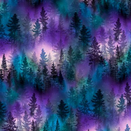 AURORA BOREALIS TREES Fabric by the Yard