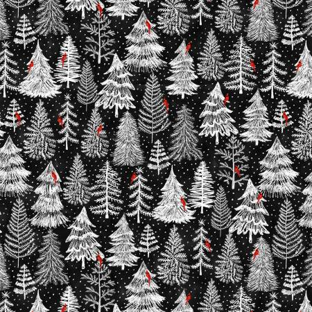 Silent Night Black Holiday Pine Forest Trees