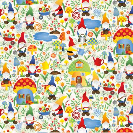 SPECIALTY FABRICS:  Tossed Woodland Gnomes on White:  Gnome Worry, Be Happy by Timeless Treasures