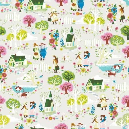 Anne Of Green Gables - Kindred Spirits Town Cream Fabric