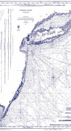 Nautical Chart White C8551 5/8 yd Panel