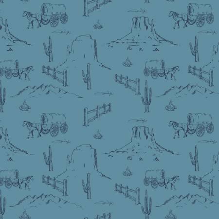 John Wayne Western Landscape Blue for Riley Blake Designs