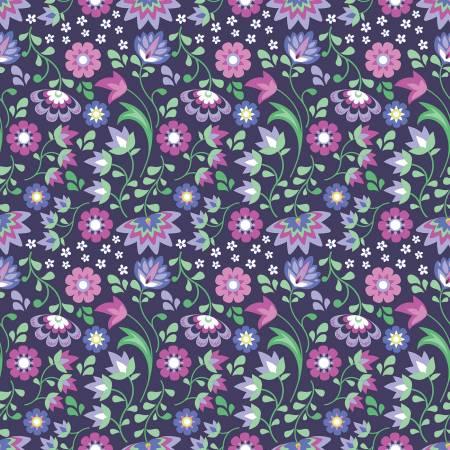 C8643-PLUM Floral Plum Lucy's Garden Riley Blake