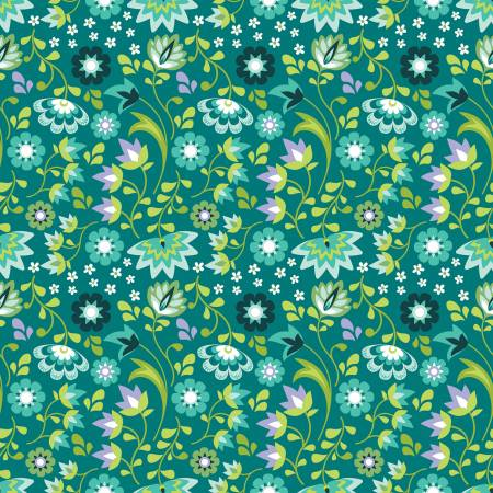Floral/Teal: Lucy's Garden (Patty Young)