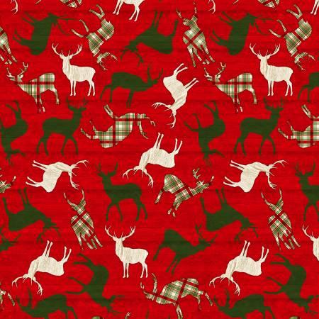 Comfort & Joy - Tossed Reindeer On Red Wood