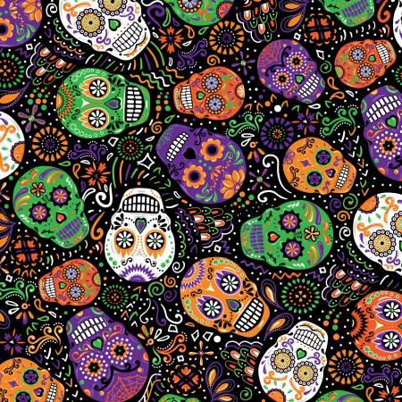 Black Day Of The Dead Mardi Gras Skulls