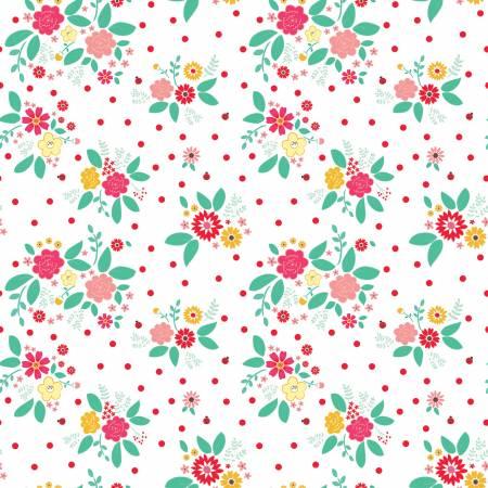 Riley Blake Rose Lane Flower Bed  White C8671